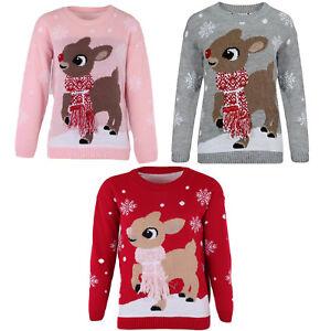 Ladies-Women-039-s-BAMBI-Deer-Christmas-Jumper-3D-Tassel-Scarf-Noel-Pull-Top