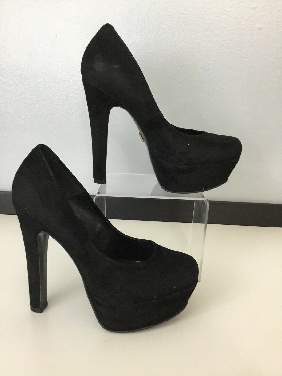 Kurt Geiger Kg Womens Black Faux Suede shoes High Heels Size Uk 5 Eu 38 VGC