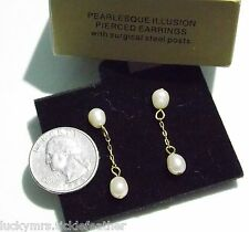 Signed AVON Pierced Earrings Pearlesque Illusion, 1997, Faux Pearl Dangles, NIB