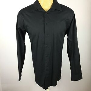 Calvin-Klein-Mens-Size-16-1-2-34-35-Black-Button-Up-Long-Sleeve-Dress-Shirt-D3