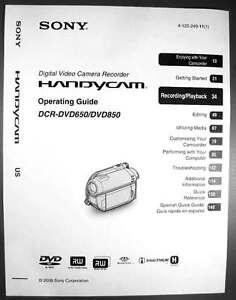 sony dcr dvd650 dcr dvd850 operating guide user s manual ebay rh ebay com sony handycam dcr-dvd650 manual español sony handycam dcr-dvd650 owners manual
