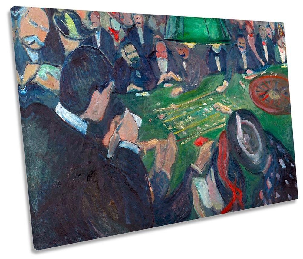 Edvard Munch tavolo roulette a montecarlo tela singola Wall Art Print