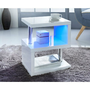 Details About High Gloss 2 Tier Sidecoffee Table With Led Light Living Room Decor White