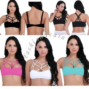 cf7e92c7a3b Womens Criss Cross Caged Strappy Stash Bra Crop Top Bralette Bustier ...