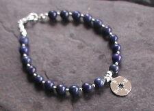 Sterling Silver Lapis Lazuli Compass Charm Bracelet Graduation Travel Gift