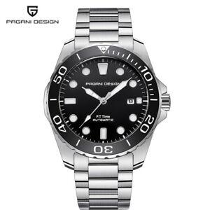 PAGANI-DESIGN-Men-039-s-Seagull-Automatic-Self-Wind-Wrist-Watch-Full-Steel-Band