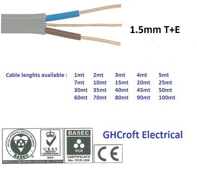 2.5 mm Twin and Earth T/&E Electric Cable Wire6242YVarious lengthsBASEC