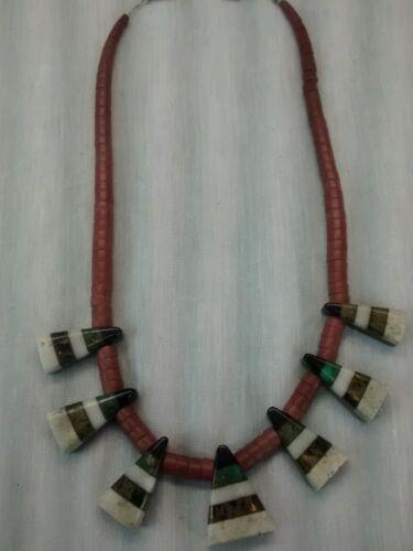 Nice Native American Depression era inlay necklace