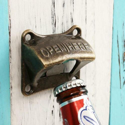 Retro Vintage Bronze Wall Mounted Wine Beer Bottle Cap Opener Bar Accessory