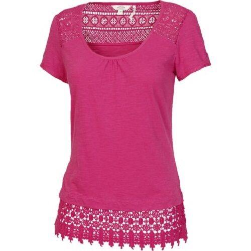 100/% Cotton Pink Kadi Lace Hem Tee Fat Face Women/'s BNWT