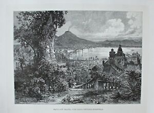 Italien-Neapel-Napoli-Gesamtansicht-Stich-Holzstich-1885