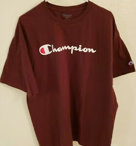 MINOR-DEFECT-Champion-Men-039-s-Classic-Jersey-Graphic-T-Shirt-Maroon-2XL