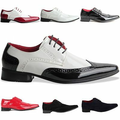 Rossellini Borsalino Mens Lace Up Brogue Black White Pointed Casual Shoe
