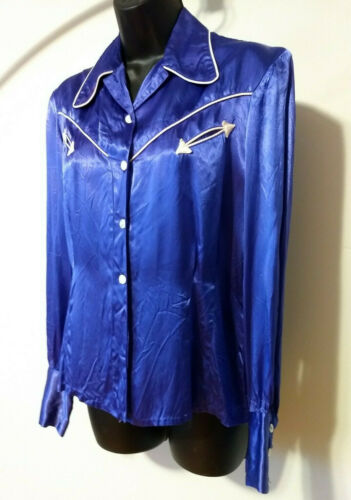 Vintage 50s/60s Blue Satin Western Wear Shirt Arro