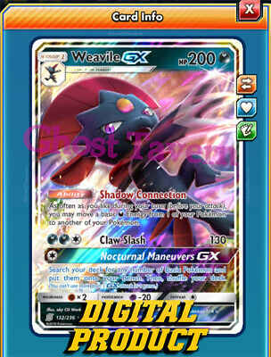 weavile GX 132//236 or Pokemon TCG Online PTCGO  Card