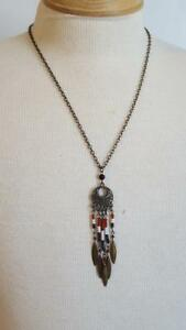 23-034-BRASS-NATIVE-AMERICAN-INSPIRED-DREAM-CATCHER-PENDANT-NECKLACE-GLASS-BEADS