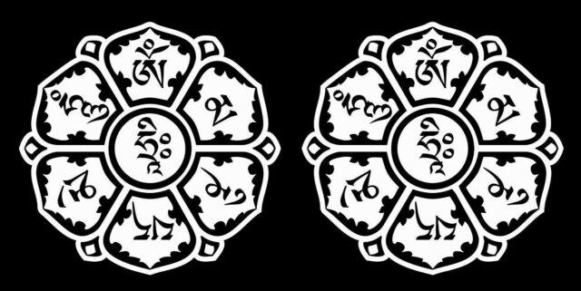 20 OM MANI PADME HUM Adesivi Bianco Mantra buddista simbolo religioso Auto Decalcomania