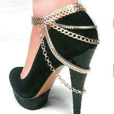 New Women Metal Ankle Shoe Heel Chain bracelet Multi Layers JEWELRY Gold Silver
