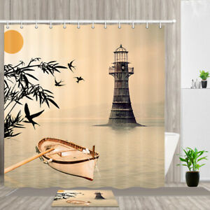 Charmant Details About Japanese Fishing Boat And Lighthouse Shower Curtain Bathroom  Decor Fabric 71x71u201c