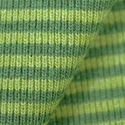 0,5 Meter Bündchen Stoff Streifen - hellgrün / olive Schlauchware gestreift