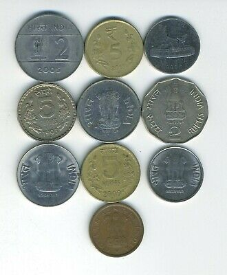 Apprehensive India - Republic - Lot Of 10 Different Coins - Great Starter - Lot # In-17 High Quality And Inexpensive