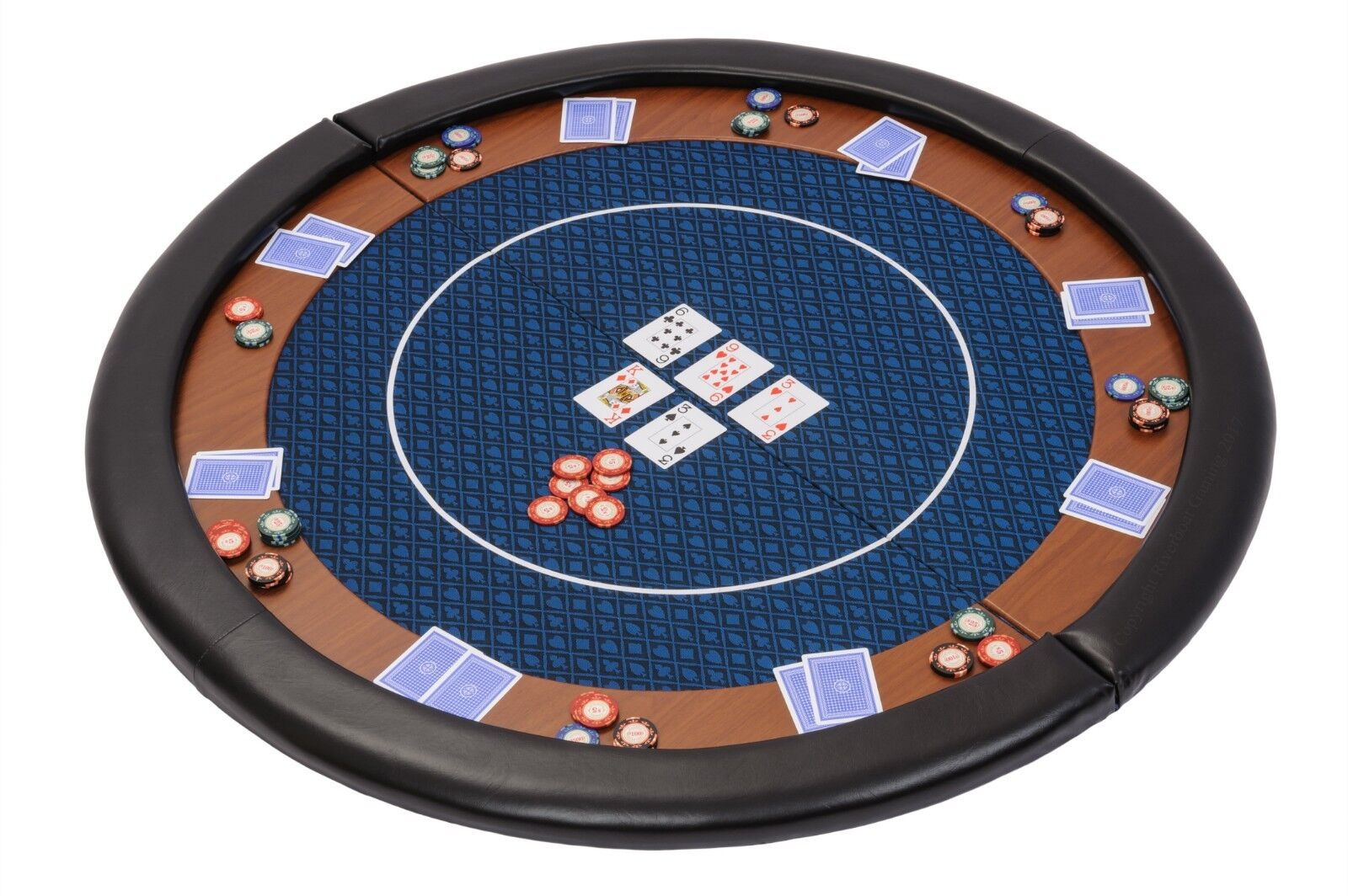 Riverboat Folding Poker Table Top in blu Speed Cloth and Leather Armrest 120cm
