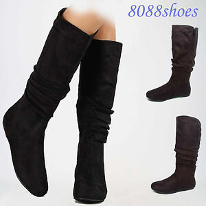 Women-039-s-Causal-Round-Toe-Flat-Mid-Calf-Knee-High-Boot-Shoes-Size-5-10-NEW