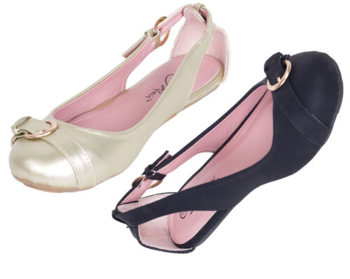 Femmes Open Side Ballerina Ballerines en cuir synthétique travail /& CASUAL Mules Chaussures