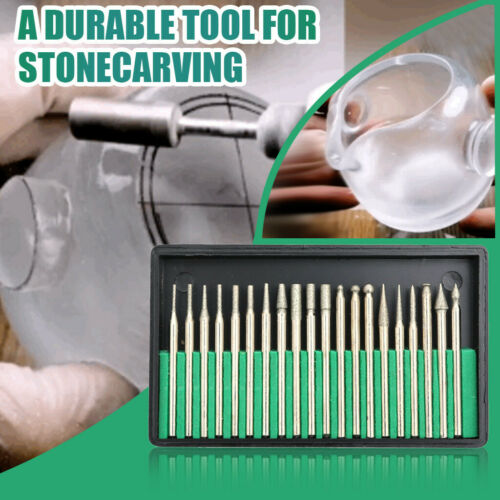 Diamond Burr Drill Bits For Engraving Carving Dremel Rotary Tiles Glass 20pcs
