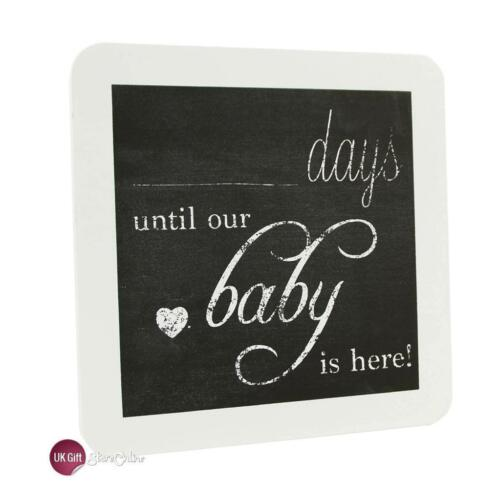 Chic Countdown To New Baby Pregnancy Plaque Sign Baby Shower Gift BB0049