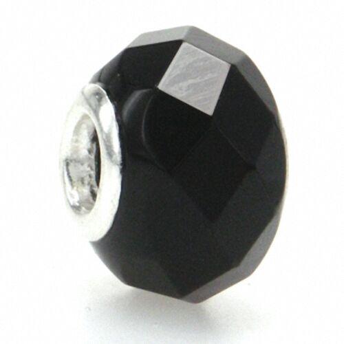 Jet Black Murano Glass 925 Sterling Silver European Charm Bead