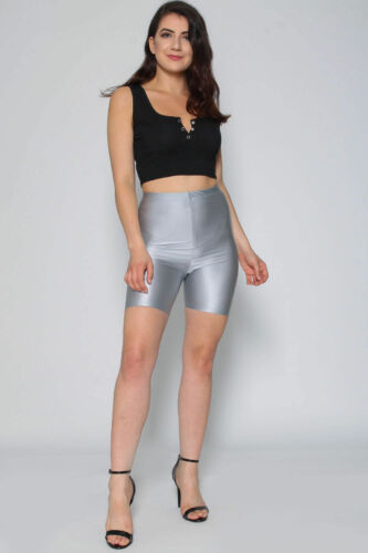New Ladies Kim Kardashian Inspired Shiny High Waist Cycling Shorts UK Size 8-14