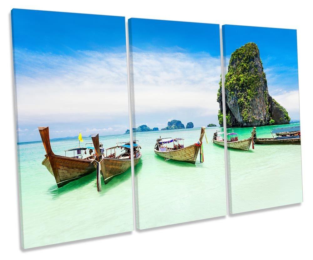 Phuket Beach Thailand Sunset Sunset Sunset Framed TREBLE CANVAS PRINT Wall Art bed49d