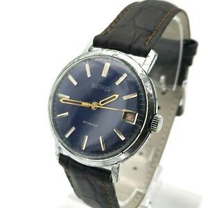 Vintage-VOSTOK-Blue-Date-Classic-Men-USSR-Analog-Russian-Soviet-Watch-CHCHZ-70s