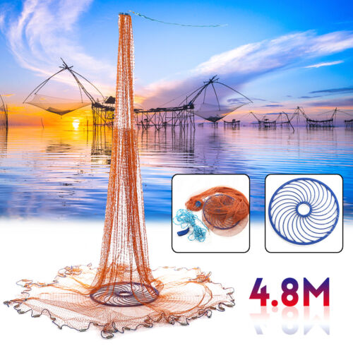 4.8M 16FT Hand Easy Throw Manual Fishing Net Spin Bait Casting Galvanized