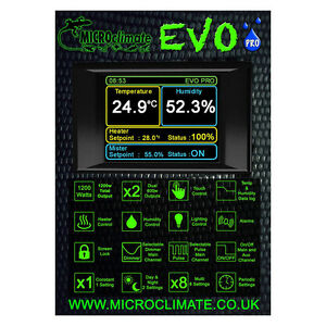 Microclimate Evo Pro Reptile Vivarium Digital Thermostat And Humidity Controller Ebay
