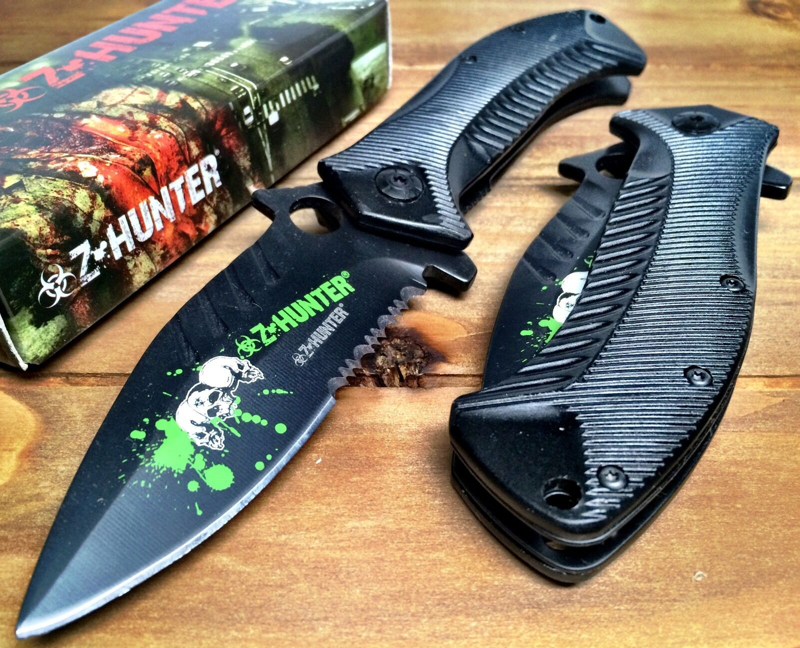 Zombie Spring Assisted Pocket Knife with Alum Handle and Bio Hazard Logo Serrate