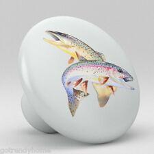 Rainbow TROUT Fish Ceramic Knobs Pulls Kitchen Drawer Cabinet Vanity Closet 539