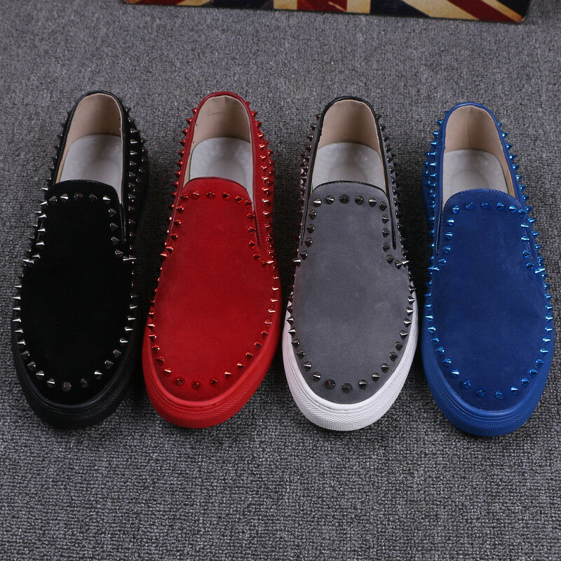 Punk Mens Low Top Rivet Loafers Slip On Hip Hop Casual Sneaker Flats Board shoes