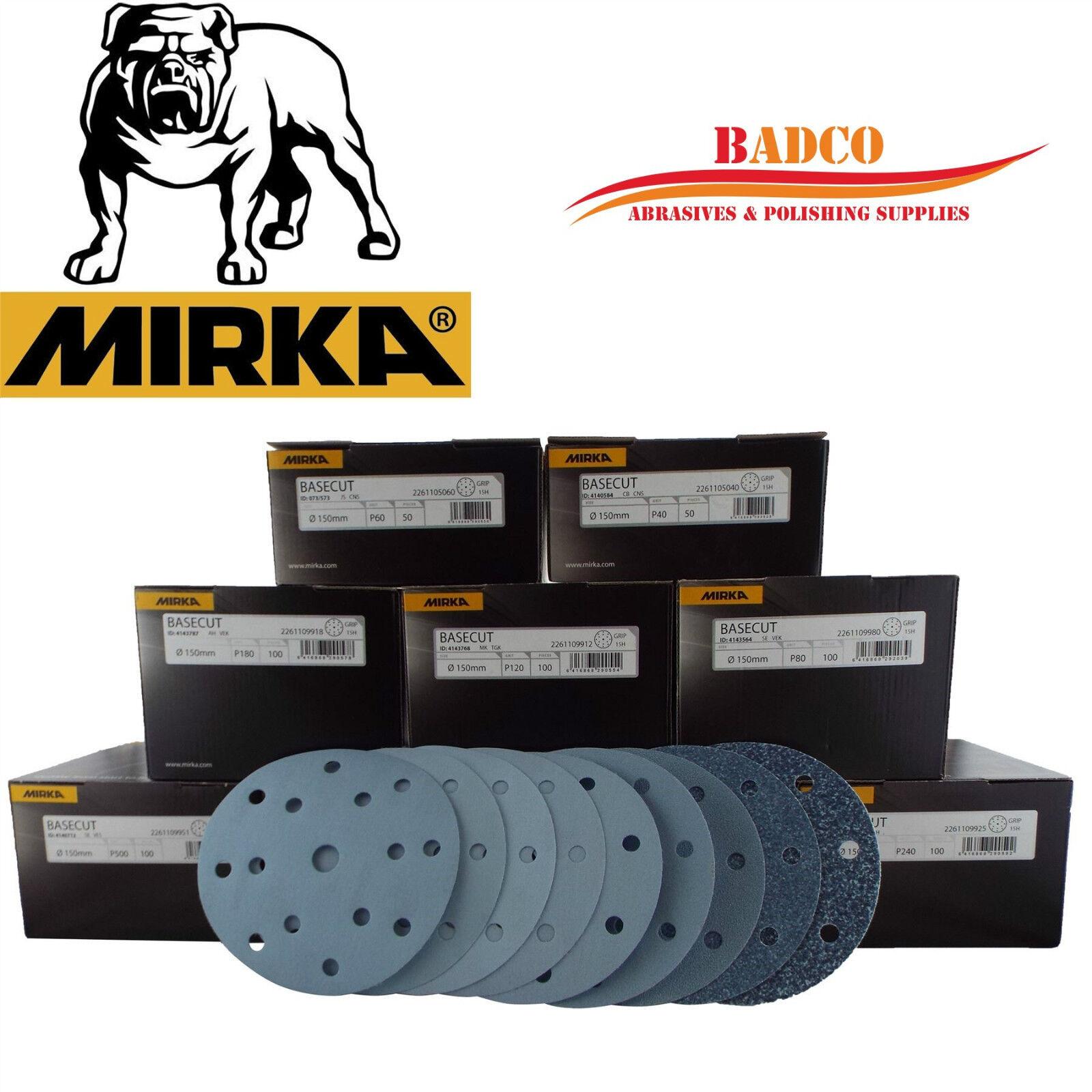 150mm G40 DA Sanding Discs   Sandpaper MIRKA Basecut 6  Hook and Loop GRIT P40