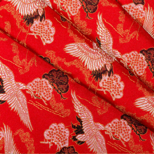 1M Japanese Crane Fabric Kimono Brocade Silky Satin Embroidery DIY Quilting Trim