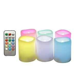 Battery-Operated-LED-Flameless-Flickering-Votive-Candle-w-Remote-Wedding-6-Pack