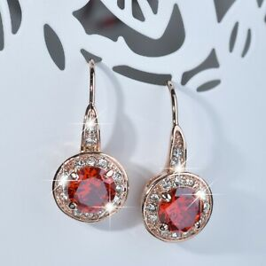 NEW-DROP-EARRINGS-9K-GF-9CT-ROSE-GOLD-MADE-WITH-SWAROVSKI-CRYSTAL-RED-SPARKLING