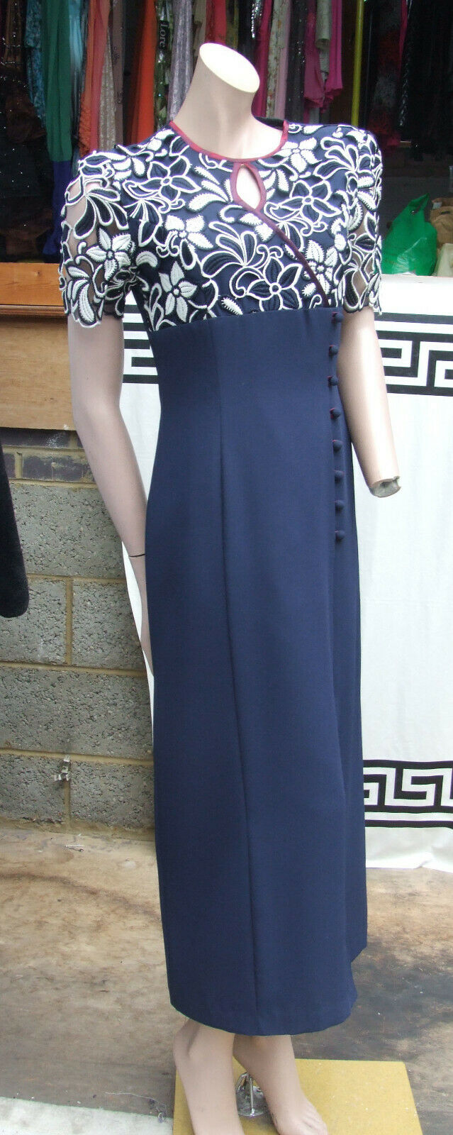 Official Magnificent Long Navy bluee & White Lase Cut Evening Dress