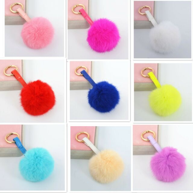 Real Rabbit Fur Ball KeyChain KeyRing With Lock Ring PU Strap For Bag Pendant