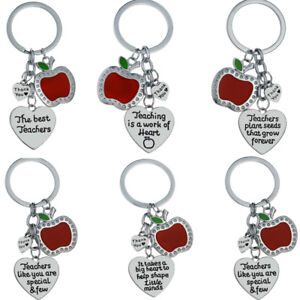 Apple-Heart-Keyring-Teachers-Gift-For-Teacher-Keychain-Key-Chain-Charm-Jewelry