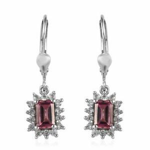 Drop-Dangle-Earrings-925-Sterling-Silver-Pink-Tourmaline-Zircon-Gift-Ct-0-6