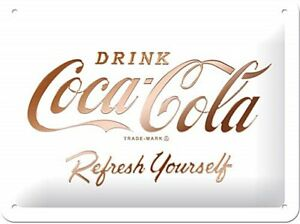 Coca-Cola-Refresh-Selbst-Weiss-Kleines-Metallschild-200mm-x-150mm-Na
