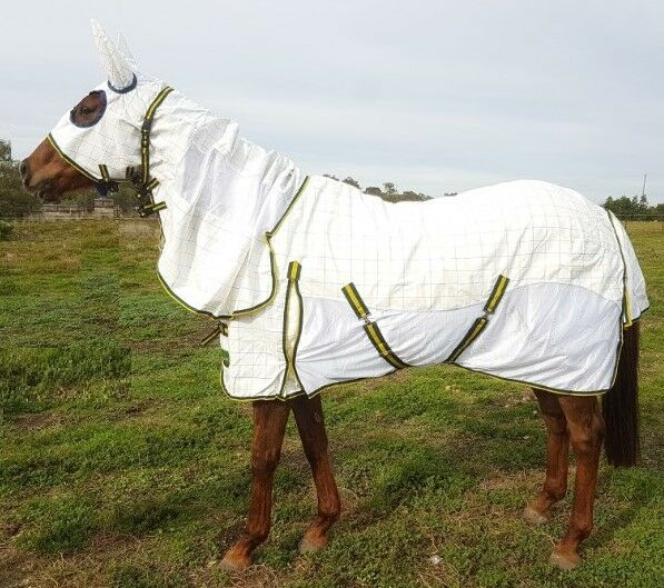 RUMANI Summer Poly Cotton Mesh HYBRID Ear Attached Sheet Horse Rug HOODED COMBO