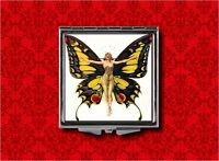 Flapper Butterfly Pin Up Girl Vintage Makeup Pocket Compact Mirror